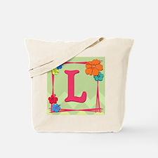 Tropical Art Monogram Tote Letter L Tote Bag
