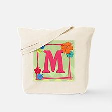 Tropical Art Monogram Tote Letter M Tote Bag