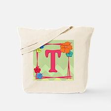 Tropical Art Monogram Tote Letter T Tote Bag