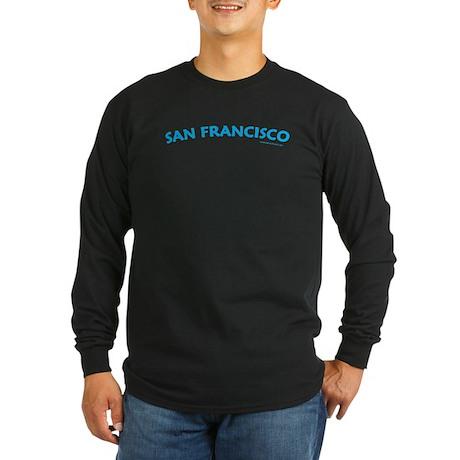 San Francisco (Aqua) - Lng Sleeve Black T-Shirt