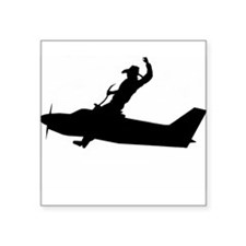 "Flying Cowboy Square Sticker 3"" x 3"""