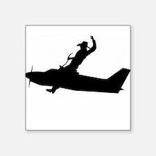 "Flying Cowboy Square Sticker 3"" x 3"""