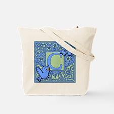 Sweet Tweet Bluebirds Monogram Letter C Tote Bag