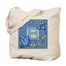 Sweet Tweet Bluebirds Monogram Letter E Tote Bag
