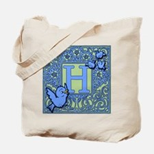 Sweet Tweet Bluebirds Monogram Letter H Tote Bag