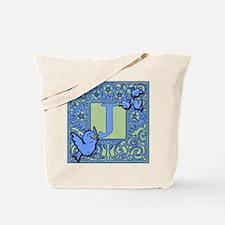 Sweet Tweet Bluebirds Monogram Letter J Tote Bag