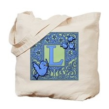 Sweet Tweet Bluebirds Monogram Letter L Tote Bag