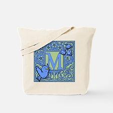 Sweet Tweet Bluebirds Monogram Letter M Tote Bag
