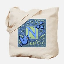 Sweet Tweet Bluebirds Monogram Letter N Tote Bag
