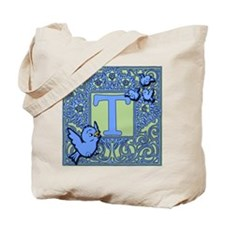 Sweet Tweet Bluebirds Monogram Letter T Tote Bag