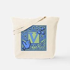 Sweet Tweet Bluebirds Monogram Letter V Tote Bag