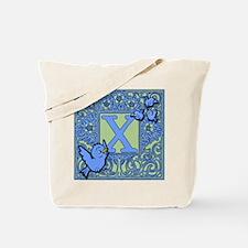 Sweet Tweet Bluebirds Monogram Letter X Tote Bag