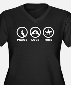 Horse Riding Women's Plus Size V-Neck Dark T-Shirt