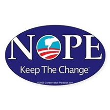 NOPE Keep the Change anti Obama bumper Decal
