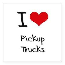 "I Love Pickup Trucks Square Car Magnet 3"" x 3"""