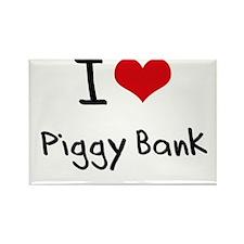 I Love Piggy Bank Rectangle Magnet