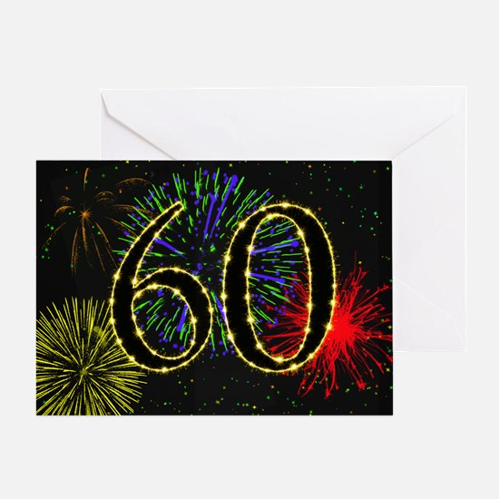 60th birthday with fireworks Greeting Card
