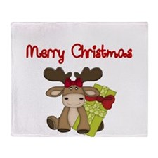 Merry Christmas with moose Throw Blanket