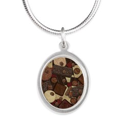 Got Chocolate? Silver Oval Necklace