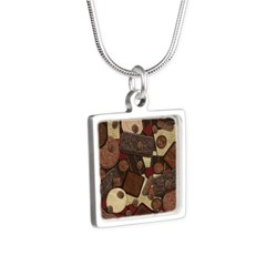 Got Chocolate? Silver Square Necklace