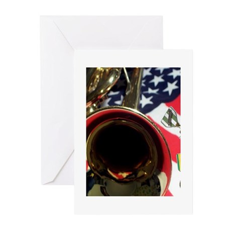 Vietnam Medals lying on flag Greeting Cards (Pack