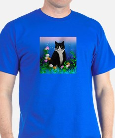Tuxedo Cat with Flowers T-Shirt