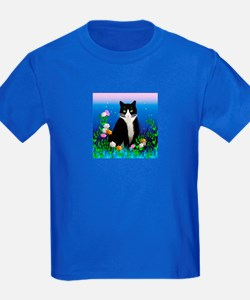 Tuxedo Cat with Flowers T