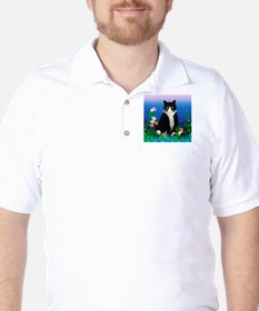 Tuxedo Cat with Flowers Golf Shirt