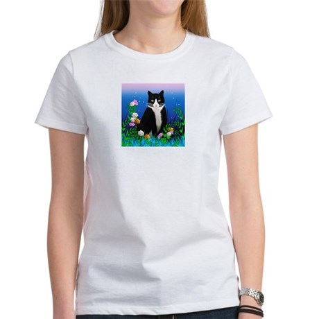 Tuxedo Cat with Flowers Women's T-Shirt