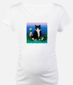 Tuxedo Cat with Flowers Shirt