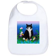 Tuxedo Cat with Flowers Bib