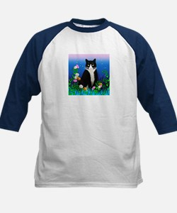 Tuxedo Cat with Flowers Tee