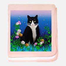 Tuxedo Cat with Flowers baby blanket