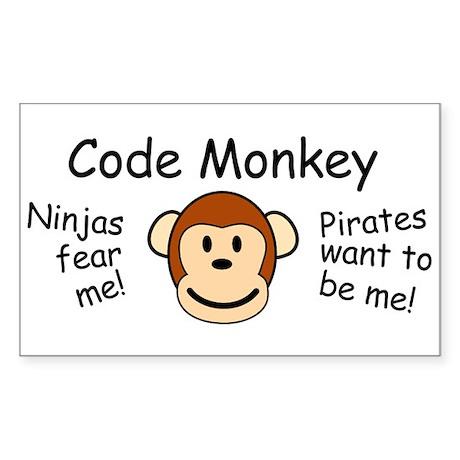 Code Monkey Rectangle Sticker