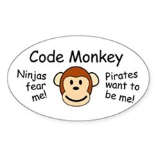 Code Monkey Oval Decal