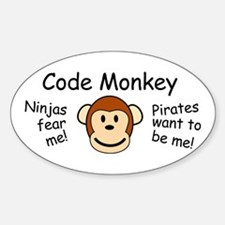 Code Monkey Oval Decal