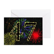 47th birthday with fireworks Greeting Card