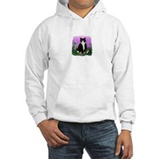 Tuxedo Cat with Flowers Hoodie
