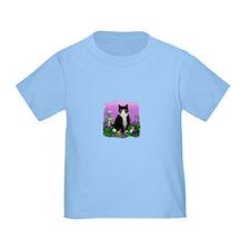 Tuxedo Cat with Flowers T