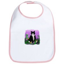 Tuxedo Cat with Flowers Bib