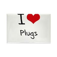 I Love Plugs Rectangle Magnet