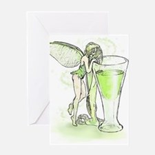 Absinthe Fairy Toying With Glass Greeting Card