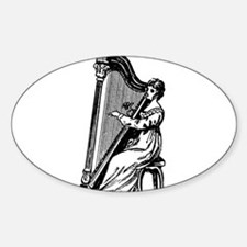 Woman Playing Harp Sticker (Oval)