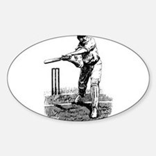 Cricket Player Sticker (Oval)