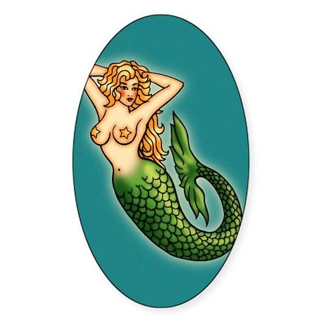 Retro Mermaid Tattoo Art Sticker (Oval)