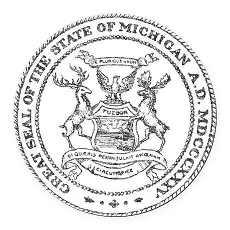 Vintage Michigan State Seal Round Car Magnet