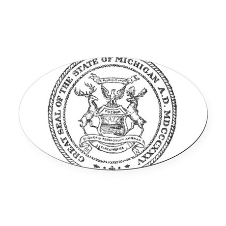 Vintage Michigan State Seal Oval Car Magnet