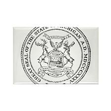 Vintage Michigan State Seal Rectangle Magnet