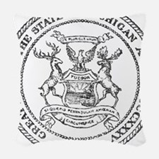 Vintage Michigan State Seal Woven Throw Pillow