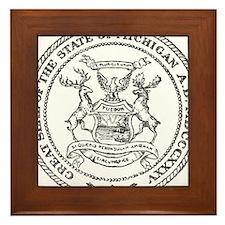 Vintage Michigan State Seal Framed Tile